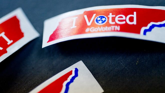 """I Voted"" stickers at The Love Kitchen during early voting in Knoxville, Tennessee on Tuesday, July 17, 2018."