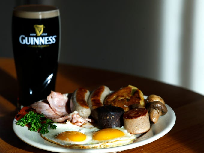 A traditional Irish Christmas breakfast with eggs,