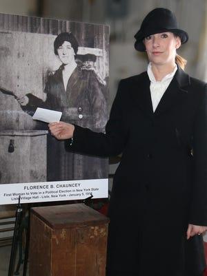 Julia Walker portrays suffragette Florence Chauncey.