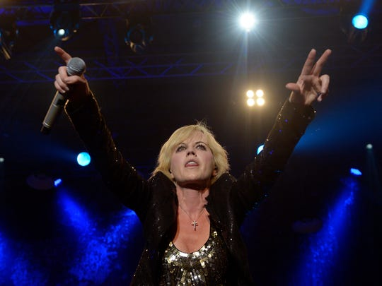 """Dolores O'Riordan of Irish rock group """"The Cranberries"""" perfoms at the Sant Jordi Club in Barcelona, Spain, Thursday, Oct. 4, 2012."""