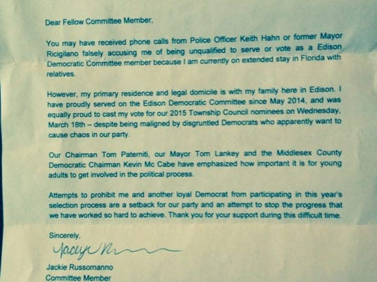 In an undated letter to unnamed committeeman, however,