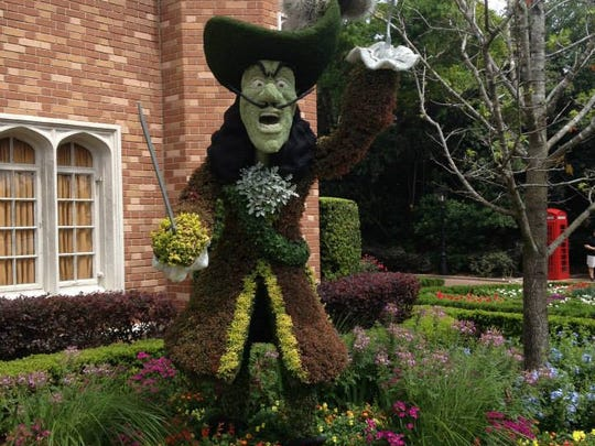 Captain Hook is one of the many topiaries you may see during Disney World's Flower and Garden Festival at Epcot.