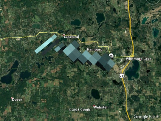 A composite image of all of the weather radar images of falling meteorite in Michigan. The gray pixels in this image show radar reflections off of falling meteorites at altitudes between 1.2 to 1.8 miles.