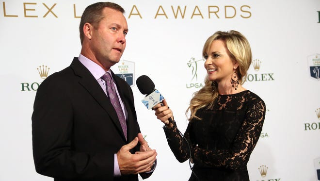 LPGA commissioner MIchael Whan speaks with Amy Rogers on the Green Carpet prior to the LPGA Rolex Awards at the Ritz Carlton Golf Resort in Naples, Florida on Thursday, Nov. 16, 2017.