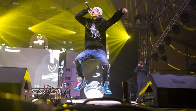Lil Xan performs Friday night at the Pavilion Stage at the 2018 Firefly Music Festival at The Woodlands in Dover.