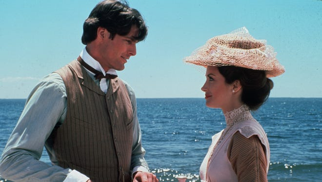 "Richard (Christopher Reeve) finally finds Elise (Jane Seymour) in Universal""s romantic fantasy ""Somewhere In Time."""
