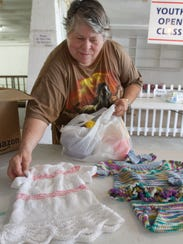 Sharon Krautheim brought her knitting projects for