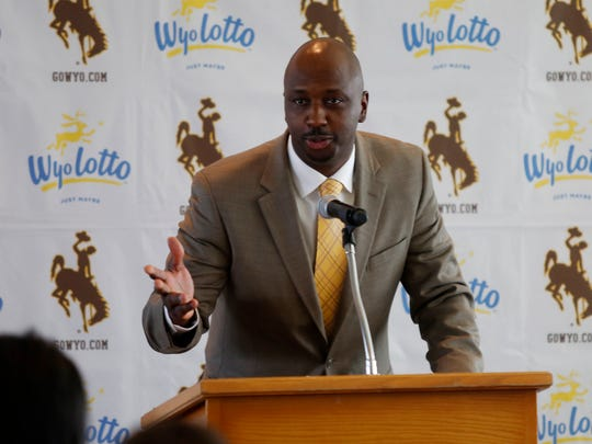 Allen Edwards speaks after he was introduced as the new University of Wyoming men's basketball coach Monday at War Memorial Stadium in Laramie, Wyo. Edwards replaces coach Larry Shyatt, who announced his retirement Monday after six seasons at UW.
