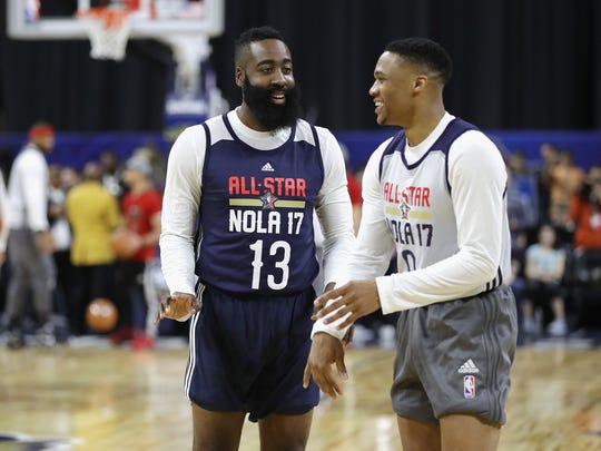 08b8549d6f4e6a NBA All-Stars James Harden (left) and Russell Westbrook