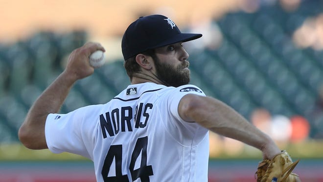 Tigers pitcher Daniel Norris throws against the Giants in the first inning Wednesday, July 5, 2017 at Comerica Park.