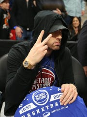 Eminem was in attendance for the Detroit Pistons opener