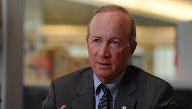 Purdue University President Mitch Daniels, a former governor of Indiana, testified in Congress on Wednesday, Sept. 30, 2015, on paying for college. Here he speaks with the USA TODAY Editorial Board.