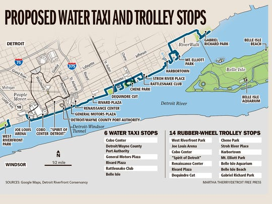 Proposed water taxi and trolley stops