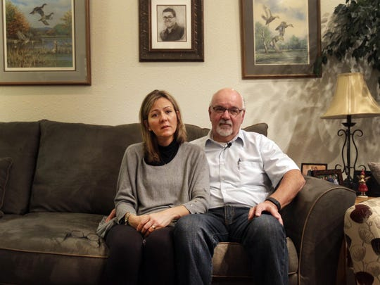 Steve and Angela Wesener in the living room of their