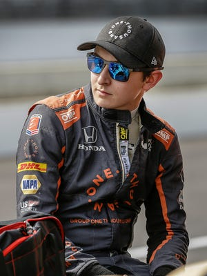 Andretti Autosports driver Zach Veach waits his turn for the Verizon IndyCar qualifications for the IndyCar Grand Prix at the Indianapolis Motor Speedway on Friday, May 11, 2018.