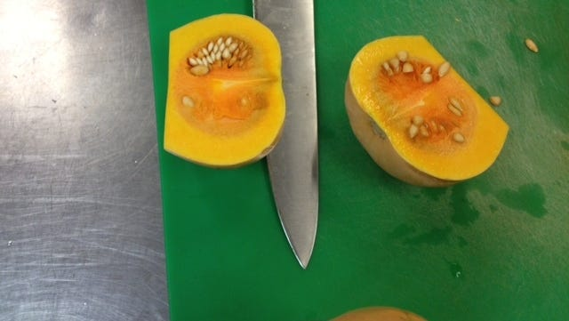 Squash is cut up for Foodlink.