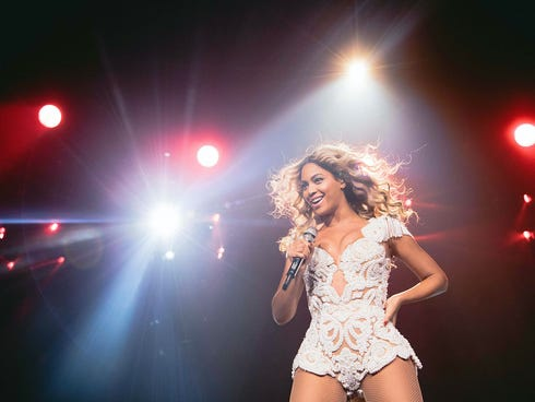 - Beyonce performs onstage at her