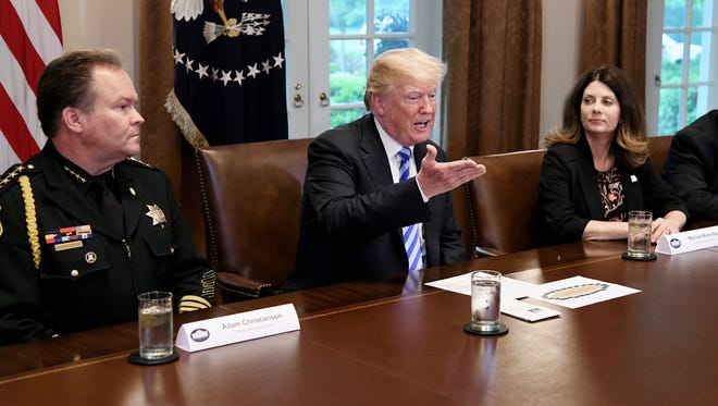 President Trump speaks during a meeting with California leaders and public officials who oppose California's sanctuary policies in the Cabinet Room of the White House Wednesday.