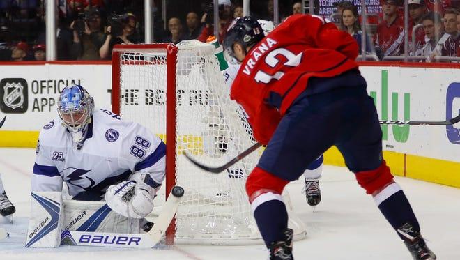 Tampa Bay Lightning goaltender Andrei Vasilevskiy stops a shot by Washington Capitals left wing Jakub Vrana.