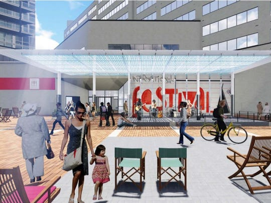 A rendering shows a new permanent stage and canopy