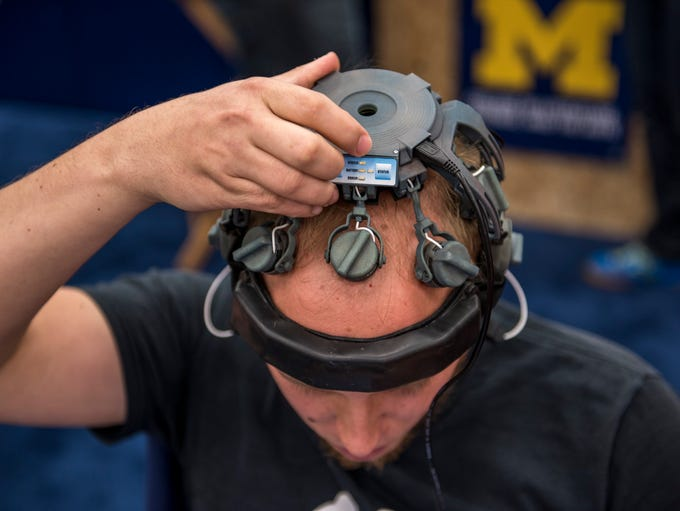 David Brown uses a wearable sensing headset.