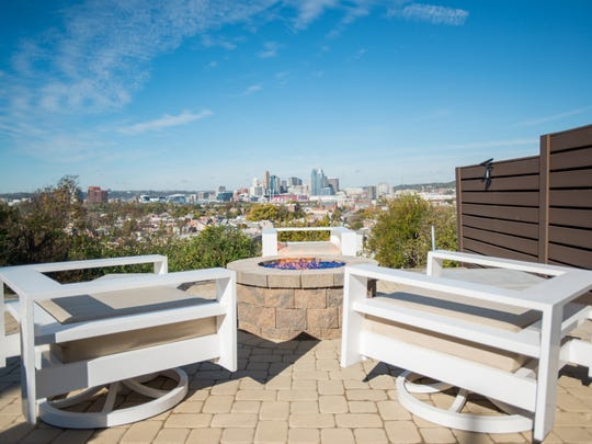 A clear view of downtown Cincinnati can be enjoyed in front of the fire at David Burns' Newport home.