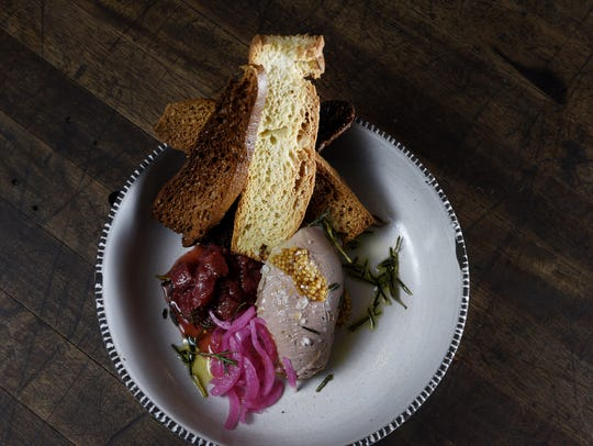 Chicken liver mousse at Turtle + The Wolf.
