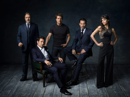 Universal's Dark Universe is kicking off with a talented cast of actors, including Russell Crowe, far left, Javier Bardem, Tom Cruise, Johnny Depp and Sofia Boutella.