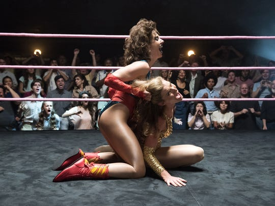 Ruth (left, Alison Brie) takes it to her frenemy Debbie