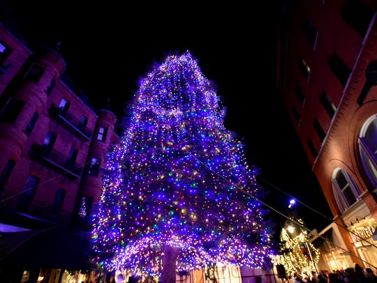 The Christmas tree at the top of the Church Street