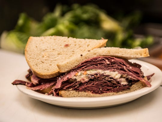 Kosher Nosh's pastrami and corned beef sandwich
