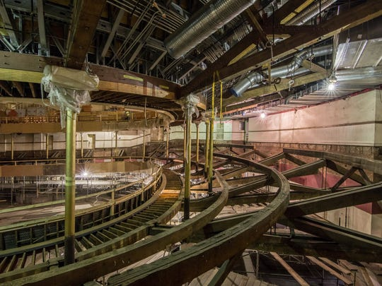 "The ""bones"" of Music Hall's auditorium are exposed during the renovation in 2016."