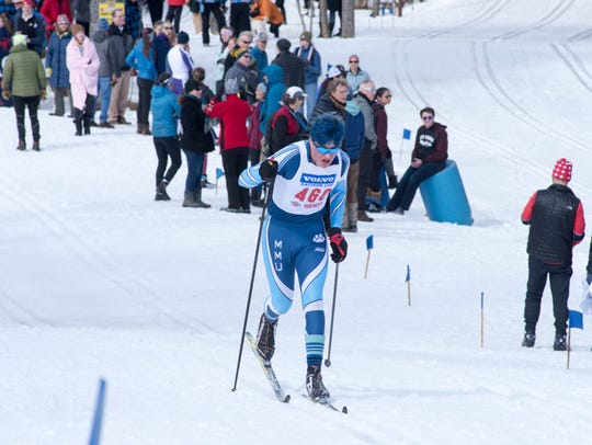 MMU's Samuel Leo races during Monday's classical portion of the Nordic skiing high school state championships in Ripton.