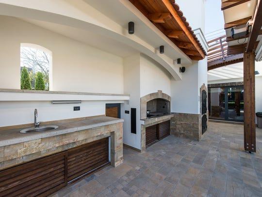 Sink in modern outdoor kitchen