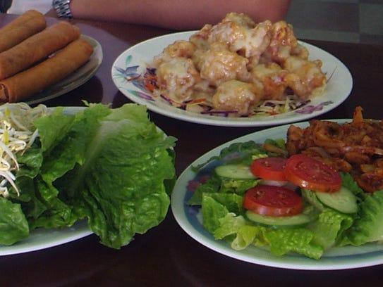 Fried lumpia, chicken lemongrass and honey walnut shrimp