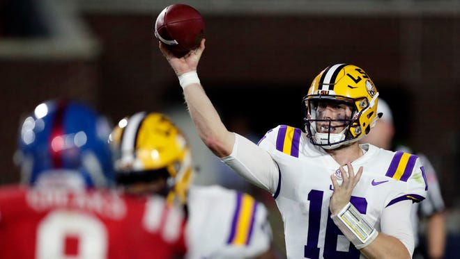 LSU quarterback Danny Etling (16) passes against Mississippi in the first half of an NCAA college football game in Oxford, Miss., Saturday, Oct. 21, 2017.