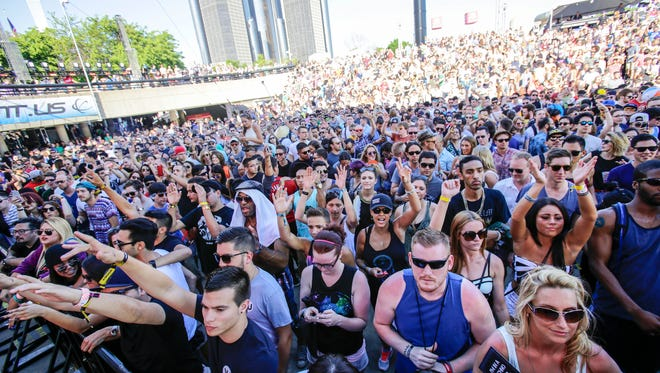 Fans pack the Red Bull Music Academy stage to hear Seth Troxler perform during the 2014 Movement Electronic Music Festival at Hart Plaza in downtown Detroit on Sunday, May 25, 2014.