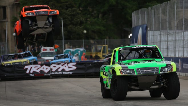 Matt Brabham takes first place in the stadium supertruck race during the Chevrolet Detroit Belle Isle Grand Prix on Sunday, June 5, 2016.
