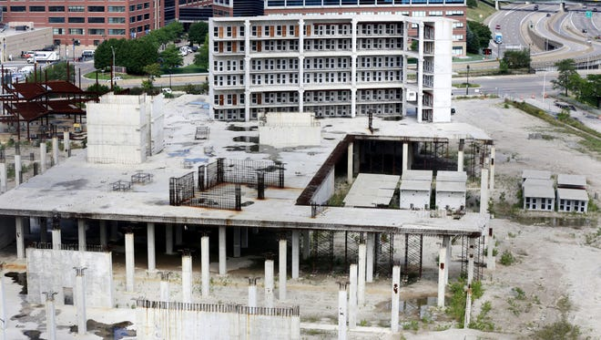 The unfinished Wayne County Jail project in Detroit is to undergo an assessment as the county weighs the possibility of restarting construction at the site. August 2016 photo.
