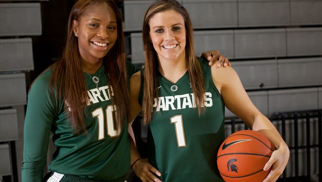Senior guards Branndais Agee, left, and Tori Jankoska pose for a portrait on Wednesday, Oct. 19, 2016 during MSU's women's basketball media day at the Breslin Center.