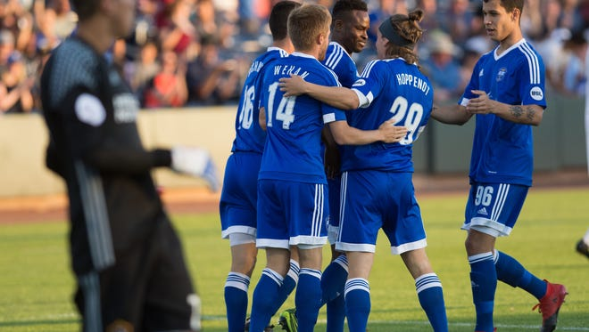 Top-ranked Reno 1868 FC lost, 3-0, Saturday night to Western Conference leaders Real Monarchs SLC at Greater Nevada Field in Reno.