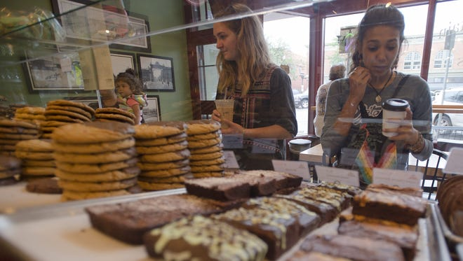 Timothy Hurst/The Coloradoan Kabila Snyder, right, and Teresa Ross browse the selection of coolies and brownies at Mary?s Mountain Cookies. Kabila Snyder, right, and Teresa Ross browse the selection of coolies and brownies, Saturday, August 12, 2017 at Mary's Mountain Cookies in Downtown First Collins, Colo.
