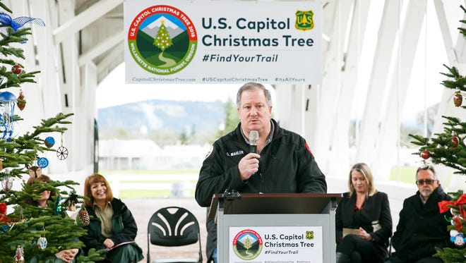 Sweet Home Mayor Greg Mahler speaks at a press conference announcing that the 2018 United States Capitol Christmas Tree will come from Sweet Home, Oregon, on Friday, Jan. 19, 2018.