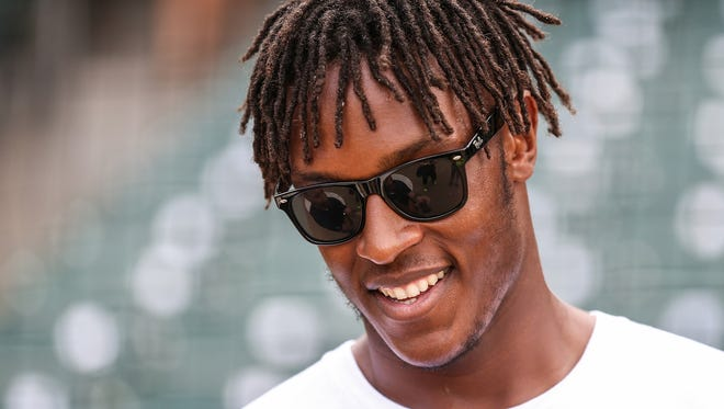 Indiana Pacer Myles Turner talks with media before the 10th Annual Caroline Symmes Memorial Celebrity Softball Challenge at Victory Field in Indianapolis, Thursday, June 7, 2018. The game raises funds for the Indiana ChildrenÕs Wish Fund, granting wishes to Indiana children who have life-threatening illnesses.