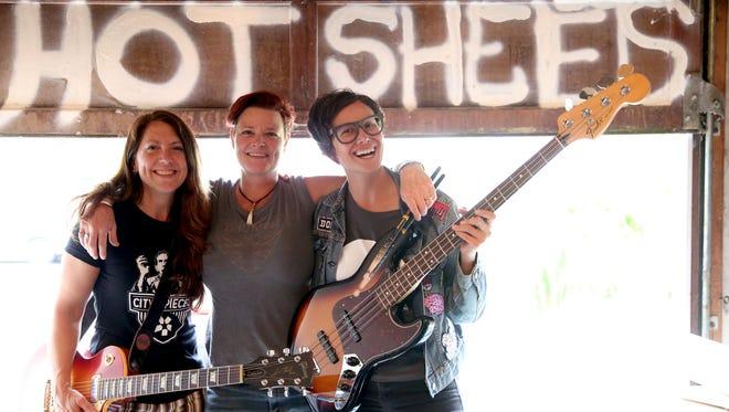 Hot Sheets, made up of guitarist Karen McFarlane Holman, drummer Jamie Sloan, and bassist Jessica Amos at Sloan's home in Salem on Friday, June 8, 2018.