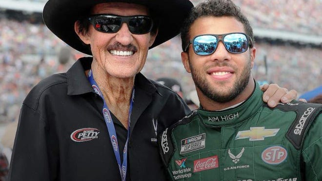 Car owner Richard Petty and driver Bubba Wallace.