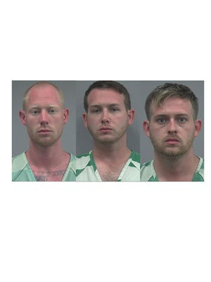 From left, Tyler Tenbrink, William Fears and Colton Fears, all of Texas, were arrested Thursday, Oct. 19, 2017, in connection with a shooting involving a group of protesters at a Gainesville, Fla., bus stop.