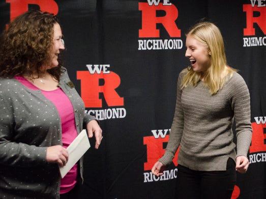 Richmond High School senior Katelyn Vierk, right,