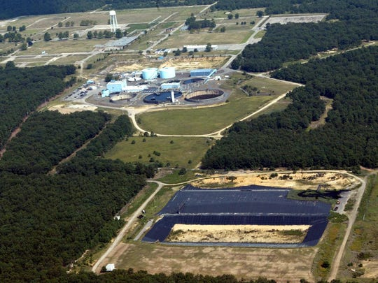 An aerial view of the Ciba-Geigy Superfund site in Toms River in 2003.An aerial view of the Ciba-Geigy Superfund site in Toms River in 2003.
