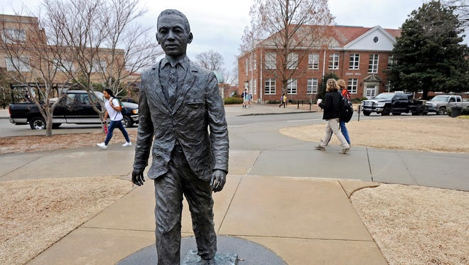 The James Meredith statue graces the University of Mississippi campus in Oxford.